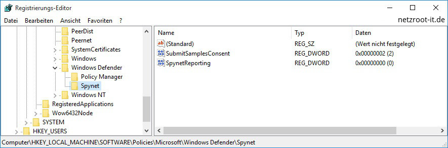 windows defender registry