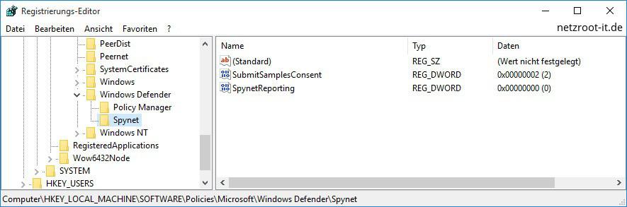 windows defender registry