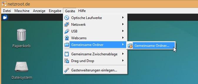 VirtualBox_ Gemeinsame Ordner aufrufen
