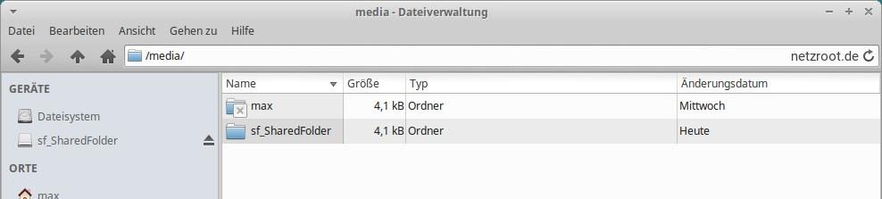 Der sf_SharedFolder ist in diesem Beispiel unser Datenaustauschordner.