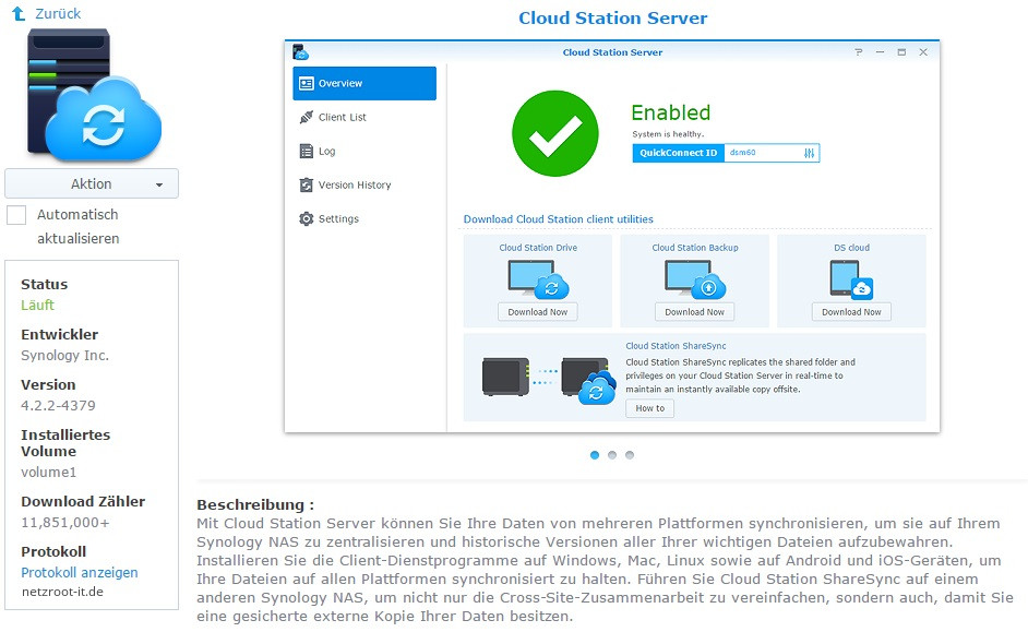 "App-Ansicht ""Cloud Station Server"" im Paket-Zentrum"