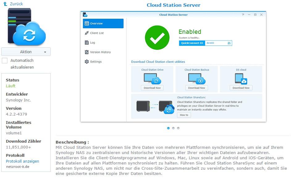 """App-Ansicht """"Cloud Station Server"""" im Paket-Zentrum"""